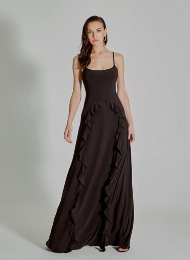 People By Fabrika Volan Detaylı Elbise Siyah